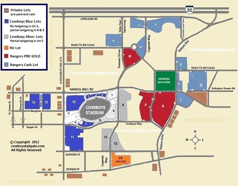 Cowboys Stadium Parking and Tailgating Map | Rangers Ballpark on